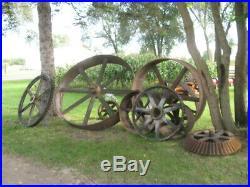 100's Antique Hit & Miss Gas Steam Engine Line Shaft Flat Belt Pulley & Gears