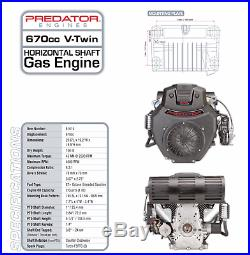 22 HP 670cc V-Twin Horizontal Shaft Gas Engine EPA