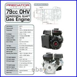 3 HP (79cc) Counter Clockwise OHV Horizontal Shaft Gas Engine EPA 3600 RPM