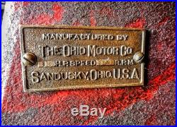 Antique Ohio Side Shaft Hit & Miss Gas Steam Hot Air Engine Motor Sandusky Old