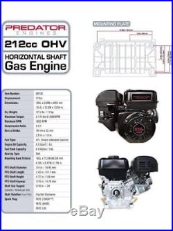 Gas-saving Easy Start Fuel Shut-Off 6.5 HP 212cc OHV Horizontal Shaft Gas Engine
