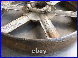 PAIR antique 2 piece 24 FLAT BELT PULLEYS LINE SHAFT GAS ENGINE 4 saw mill