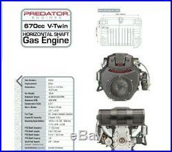 Predator 22 HP 670cc EPA V-Twin Horizontal Shaft Gas Engine